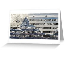 American Flag Featuring City Skyline and Mountian Top Landscape Greeting Card