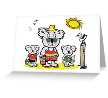 Cartoon of koala bear family at beach Greeting Card