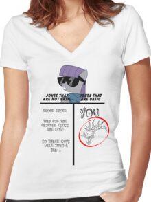 Basic of Jokes (BLACK TEXT) Women's Fitted V-Neck T-Shirt