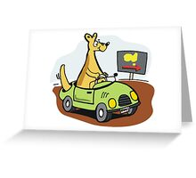 Cartoon kangaroo driving car in Australian outback. Greeting Card