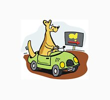Cartoon kangaroo driving car in Australian outback. T-Shirt