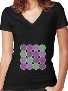 Spotty Checks | Pink & Green Women's Fitted V-Neck T-Shirt
