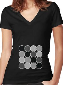Spotty Checks | Mono Women's Fitted V-Neck T-Shirt