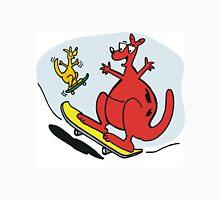 Cartoon of kangaroos riding skateboards. Unisex T-Shirt