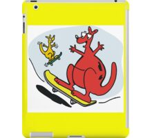 Cartoon of kangaroos riding skateboards. iPad Case/Skin