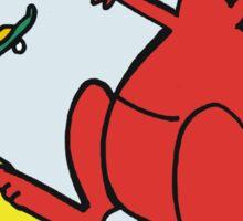 Cartoon of kangaroos riding skateboards. Sticker