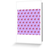 Bow Emoji Pattern Violet Greeting Card