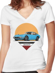 Toyota 2000 GT (blue) Women's Fitted V-Neck T-Shirt