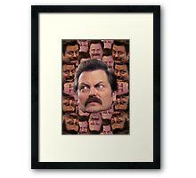 Ron Swanson Head Print Framed Print