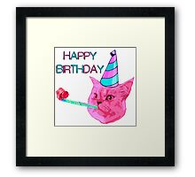 Happy Birthday Party cat Framed Print