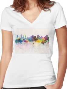 Ho Chi Minh skyline in watercolor background Women's Fitted V-Neck T-Shirt