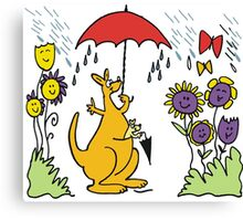Cartoon kangaroo with umbrella in rain Canvas Print