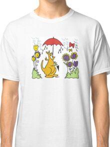 Cartoon kangaroo with umbrella in rain Classic T-Shirt