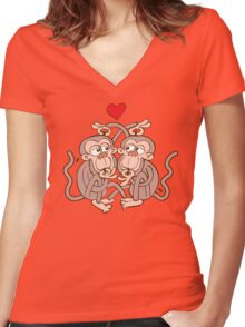 Monkeys Eating Lice and Falling in Love Women's Fitted V-Neck T-Shirt