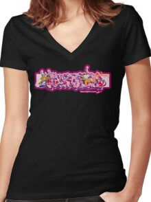 Graffiti SCREAM (V2) Women's Fitted V-Neck T-Shirt