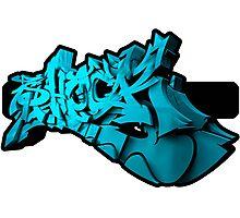 Graffiti SHOCK 3D (Blue) Photographic Print