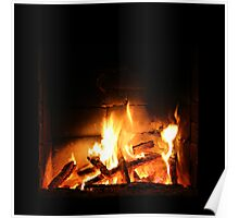 Warm fire in fireplace Poster