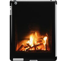 Warm fire in fireplace iPad Case/Skin