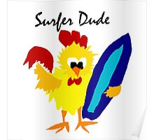 Cool Funny Surfer Dude Cartoon Poster