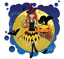 Witch and Full Moon 3 Photographic Print