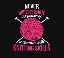 Never underestimate the power of a woman with knitting skills Women's Fitted Scoop T-Shirt