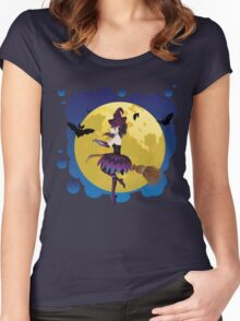 Witch and Full Moon 4 Women's Fitted Scoop T-Shirt