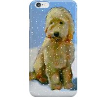 Golden Doodle Dog in Snow: Original Oil Pastel Painting iPhone Case/Skin