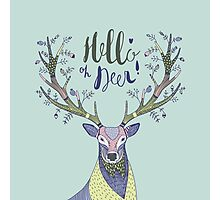 hand drawn illustration with deer and text Hello Deer Photographic Print