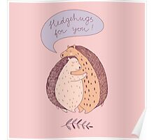 cute drawing with two hugging hedgehogs Poster