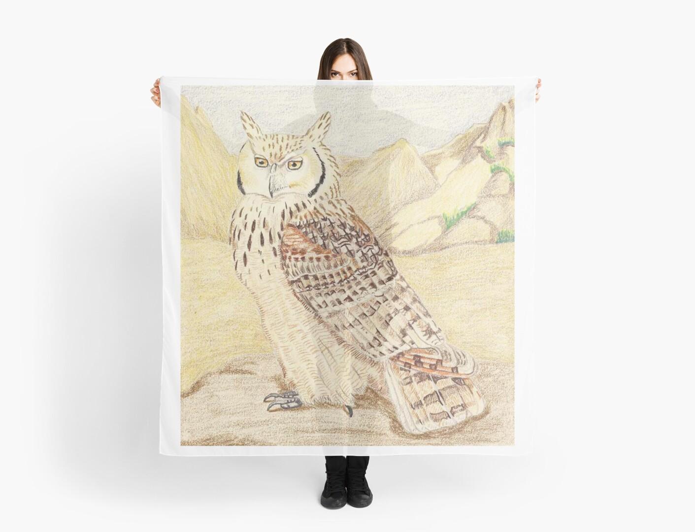 Pharaoh Eagle Owl Subspecies Scarves By Pinkyjainpan