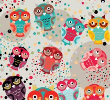Owls on cream background Sticker