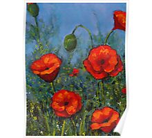 Red Poppies: Original Floral Painting Poster