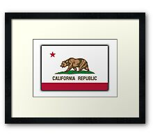 CALIFORNIA, Californian Flag, Flag of California, California Republic, America, The Bear Flag, State flags of America, American, USA, on WHITE Framed Print