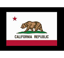 CALIFORNIA, Californian Flag, Flag of California, California Republic, America, The Bear Flag, State flags of America, American, USA, on BLACK Photographic Print
