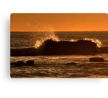 Wave Splash At Sunset Canvas Print