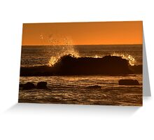 Wave Splash At Sunset Greeting Card