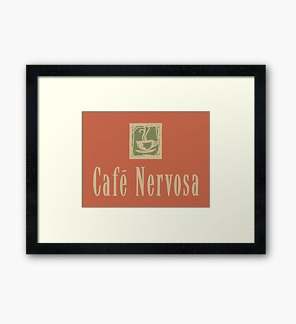 Cafe Nervosa sign – Frasier, Seattle Framed Print