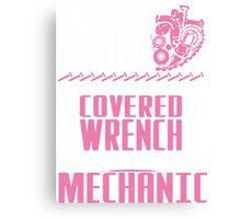 Mechanic Tshirt My Heart Belongs To An Oil Covered Wrench Turning Mechanic Canvas Print