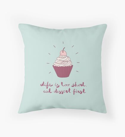 cute illustration with a cupcake Throw Pillow