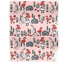 Alice in Wonderland print pattern kids children nursery cute baby Andrea Lauren  Poster
