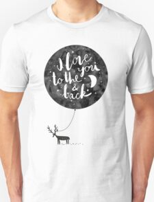 hand drawn cute illustration with a deer, ballon and text T-Shirt