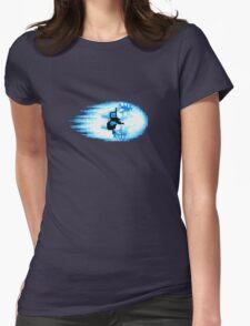 Street Fighter Hadouken Fireball pixel pattern Womens Fitted T-Shirt