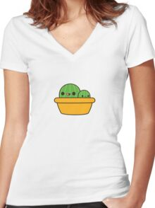 Cute cactus in yellow pot Women's Fitted V-Neck T-Shirt