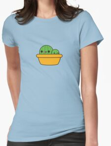 Cute cactus in yellow pot Womens Fitted T-Shirt