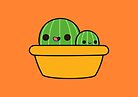 Cute cactus in yellow pot by peppermintpopuk