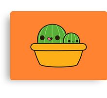 Cute cactus in yellow pot Canvas Print