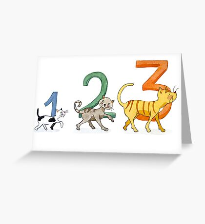 1, 2, 3 cats Greeting Card