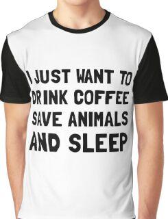 Coffee Animals Sleep Graphic T-Shirt
