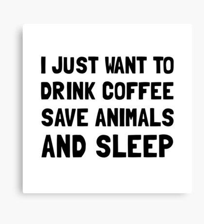 Coffee Animals Sleep Canvas Print