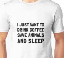 Coffee Animals Sleep Unisex T-Shirt
